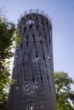 Hemer Sauerland, norr Rhen Westphalia, Tyskland - Augusti 16 2013: Den iconic bergturmen för ¼ för tyskLandesgartenschau torn JÃ arkivbild