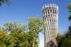 Hemer Sauerland, norr Rhen Westphalia, Tyskland - Augusti 16 2013: Den iconic bergturmen för ¼ för tyskLandesgartenschau torn JÃ arkivbilder