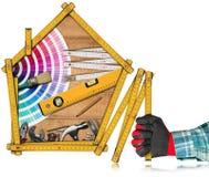 Hemförbättringbegrepp - arbetshjälpmedel och hus Royaltyfria Foton