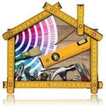 Hemförbättringbegrepp - arbetshjälpmedel och hus Arkivbild