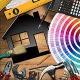 Hemförbättringbegrepp - arbetshjälpmedel och hus Royaltyfri Fotografi
