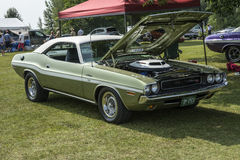 Challenger. St liboire august 2, 2014 picture of dodge challenger rt with 426 hemi engine and white vinyl top during mopar convention Royalty Free Stock Image