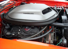 426 Hemi Engine / Hemi 'Cuda. A 426 hemi engine in a 1971 hemi 'cuda. Image captured at the 2013 annual Stan Hywet Fathers Day Auto Show Stock Images