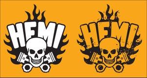 Hemi Skull en Zuigers met grungeoptie Stock Foto
