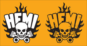 Hemi Skull and Pistons with grunge option Stock Photo
