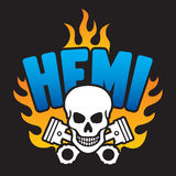 Hemi Skull and Pistons Stock Photography