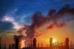 Hemical plant and oil refinery industry with sunrise. Dramatic sky and lightning. Hemical factory plant and oil refinery industry with sunrise. Dramatic sky and stock images