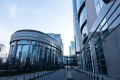 European Parliament and Rue Wiertz. The Hemicycle building of the European Parliament in Brussels as seen from the Rue Wiertz on 17th February 2018 Royalty Free Stock Images