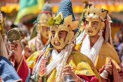 Hemis festival i Leh, Ladakh, Indien Arkivbilder