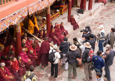Monks with tourists in Ladakh, India Stock Photos