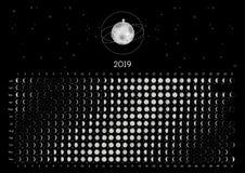 Hemisfério Norte do calendário 2019 da lua imagens de stock