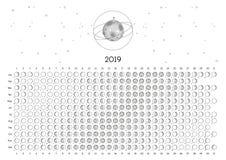 Hemisfério sul do calendário 2019 da lua foto de stock royalty free