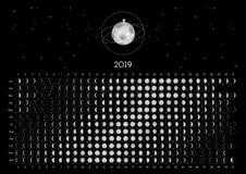 Hemisfério sul do calendário 2019 da lua fotografia de stock
