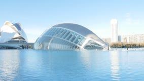 Hemisferic building in Valencia, Spain. City of Arts and Sciences. Pan of Hemisferic building in Valencia, Spain stock video