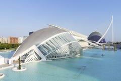 Hemisferic futuristisk byggnadspanoramautsikt i staden av konster och vetenskaper, Valencia, Spanien fotografering för bildbyråer