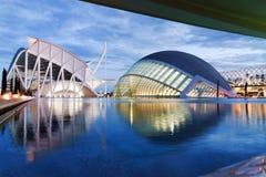 Hemisferic futuristisk byggnadspanoramautsikt i staden av konster och vetenskaper, Valencia, Spanien, Europa royaltyfri foto