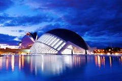 Hemisferic futuristisk byggnadspanoramautsikt i staden av konster och vetenskaper, Valencia, Spanien, Europa arkivfoto