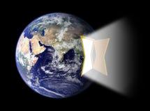 Hemisferio del este de la tierra con el portal de la puerta Imagen de archivo libre de regalías