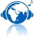 Hemisferio del este de los auriculares del mundo de la música de la tierra stock de ilustración