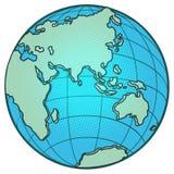 Hemisferio del este del globo África Europa Asia Australia ilustración del vector