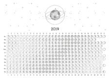 Hemisferio meridional del calendario 2019 de la luna foto de archivo libre de regalías