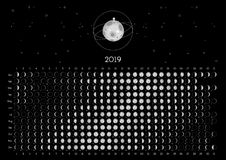 Hemisferio meridional del calendario 2019 de la luna fotografía de archivo