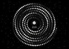 Hemisferio meridional del calendario 2019 de la luna imagen de archivo libre de regalías