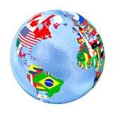 Hemisferio norte en el globo político con las banderas aisladas en wh stock de ilustración