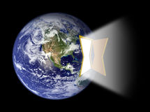 Hemisferio occidental de la tierra con el portal de la puerta Fotografía de archivo
