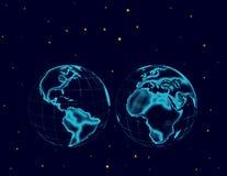 Hemisfery przestrzeń z gwiazdami i kula ziemska ilustracja wektor