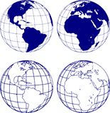 Hemispheres of the planet earth, eastern and western. The eastern and western hemispheres of the planet earth, in various interpretations royalty free illustration