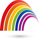 Hemispheres, rainbow in color, painter and multimedia logo. Hemispheres, rainbow in color, abstract, painter and multimedia logo Stock Images