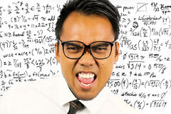 Hemistry etudiant writing on the board. Asian étudiant learn maths in school stock photos