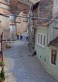 Hemlöns, den smutsiga kvinnan och hennes son liying på gataasfalt i Sibiu, Rumänien Arkivbilder
