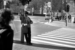 Hemlös i Bryssel royaltyfria bilder