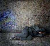 hemlös kvinna Arkivfoto