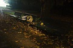 Hemlös som sover på en bänk Arkivfoto