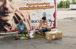 Hemlösa par som säljer rå wallnuts på gatorna Royaltyfri Bild