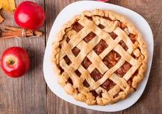 Hemlagad äppelpaj, äpplen och höstsidor Royaltyfri Fotografi
