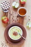 hemlagad applesauce fotografering för bildbyråer