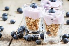 Hemlagad bakad granola med yoghurt och blåbär i ett exponeringsglas fotografering för bildbyråer