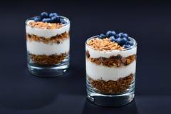 Hemlagad bakad granola med yoghurt och blåbär i ett exponeringsglas på royaltyfria foton