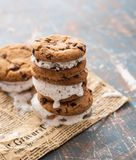Hemlagad choklad Chip Cookie Ice Cream Sandiwch på en pappers- bakgrund royaltyfri fotografi