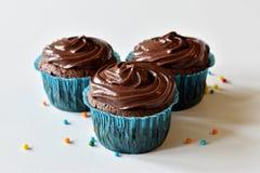 Hemlagad chokladmuffin med stänk Arkivfoto