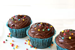 Hemlagad chokladmuffin med stänk Royaltyfria Foton