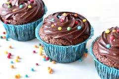 Hemlagad chokladmuffin med stänk Arkivbilder