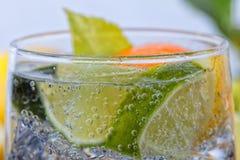 Hemlagad coctail med citrusfrukter i den glass koppen med transpare Royaltyfria Bilder