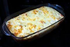 Hemlagad eldfast form med kött, grönsaker och ost i ugnen arkivfoto