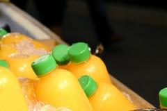 Hemlagad fruktfruktsaft i en plast- flaska p? is royaltyfri fotografi