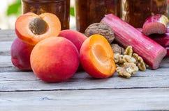 Hemlagad fruktkonserv för aprikosrabarberwalnu Arkivbilder